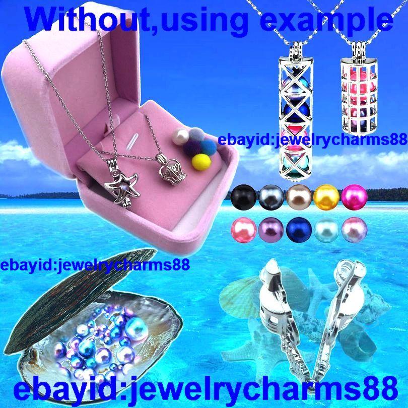 L392 Bright Silver Copper Locket Necklace 23mm Inverted Geometric Pearl Cage