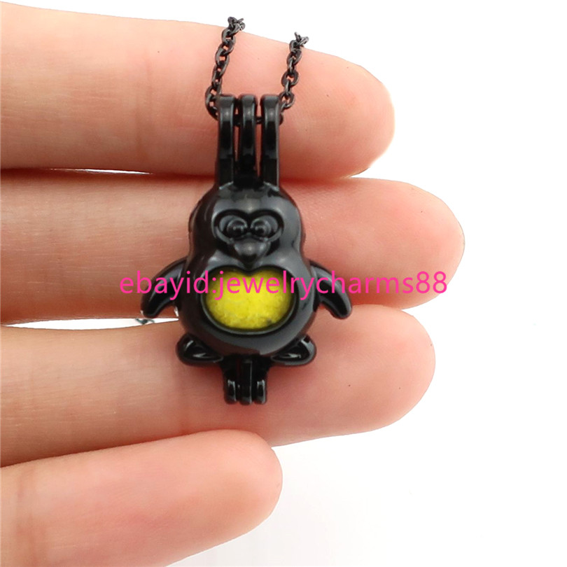 """Kid/'s Gift H59 Black Penguin Pearl Cage Necklace 18/"""""""