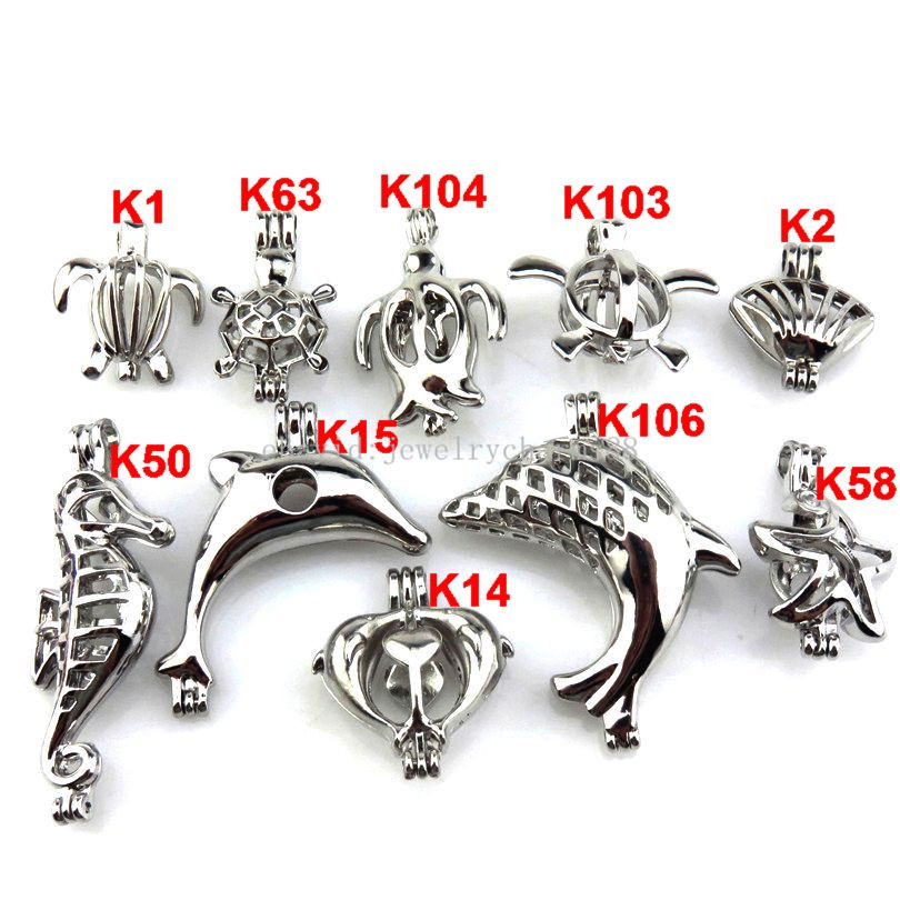 21634 10X//set Mix Silver Sea Horse Dolphin Shell Turtle Starfish New Pearl Cage
