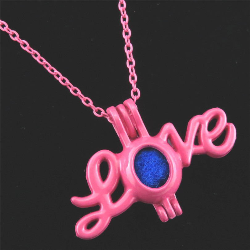 22mm Letter LOVE Cage R498 Hot Pink plated Alloy Pearl Cage Short Necklace
