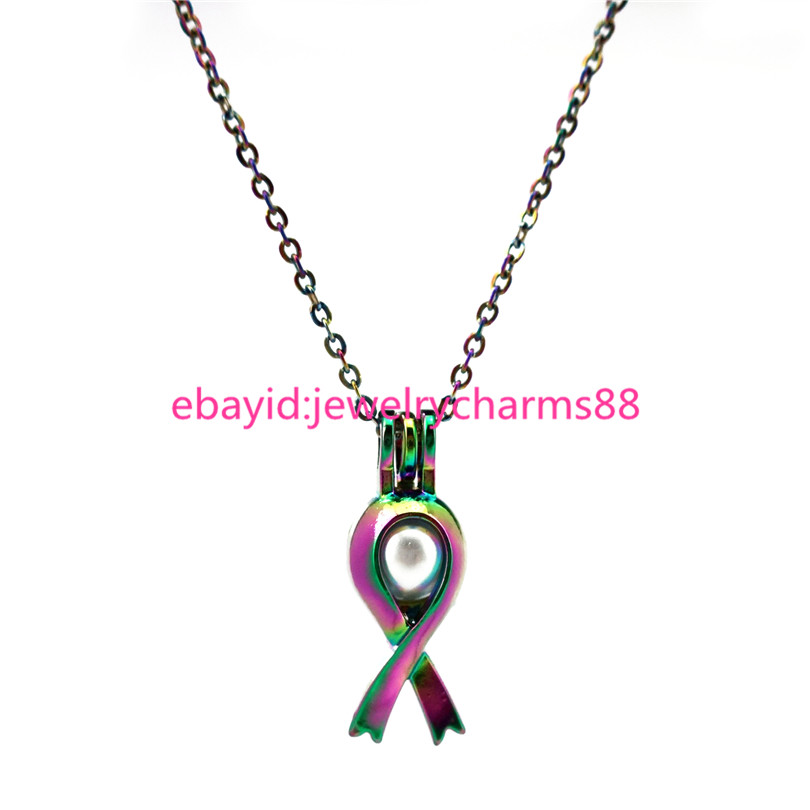 C285 Rainbow Cancer Breast Awareness Ribbon Sign Necklace Pearl Cage
