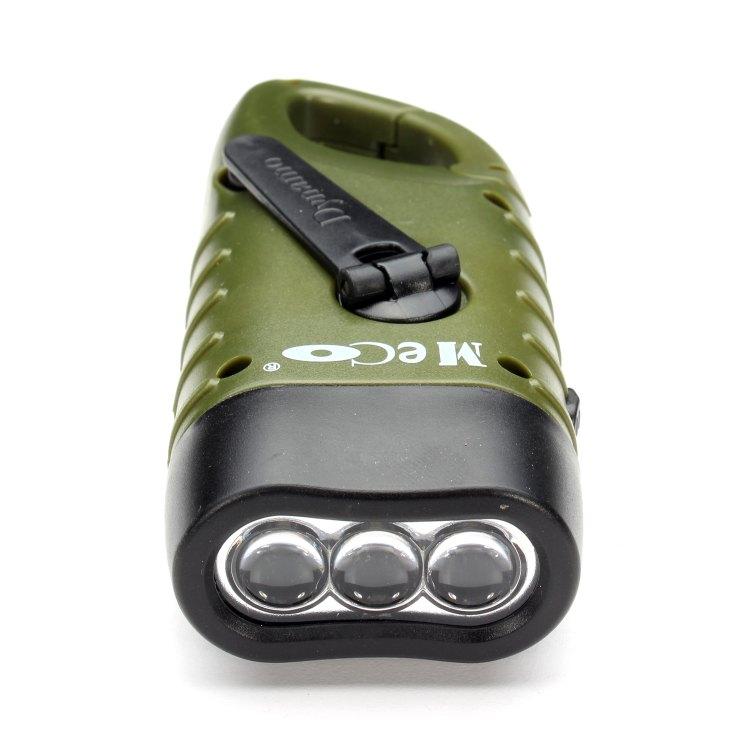 2 packs LED Taschenlampe Handkurbel Solar Dynamo Karabiner wiederaufladbare Grün