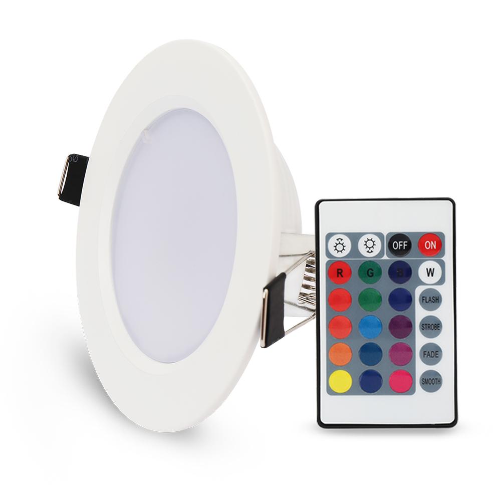 5 20 dimmbar rgb farbwechsel 5w 10w led panel licht einbaustrahler deckenleuchte ebay. Black Bedroom Furniture Sets. Home Design Ideas