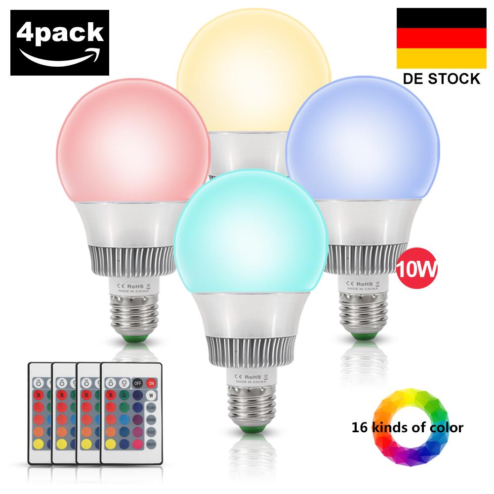 E27 10W RGB Bunte LED Birne Farbwechsel Lampe Glühbirne Licht mit ...