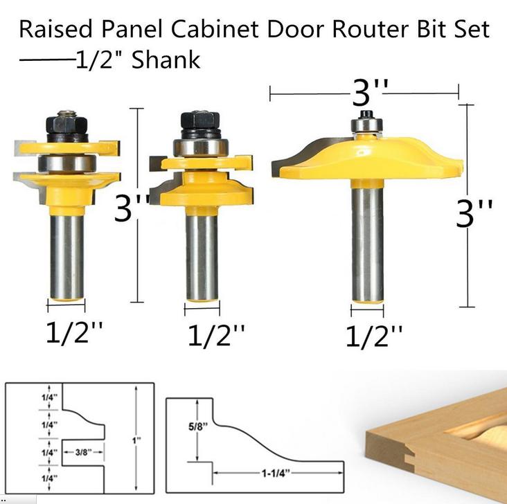3 Set Bit Raised Panel Cabinet Door Router Bit 12 Shank W Case