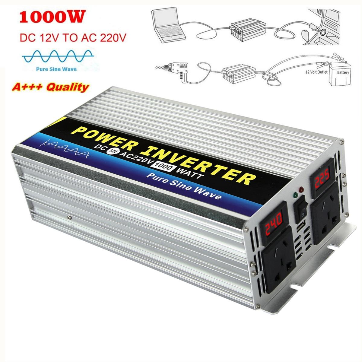 Power Inverter Pure Sine Wave 1000w 2000w Peak Dc12v To Ac
