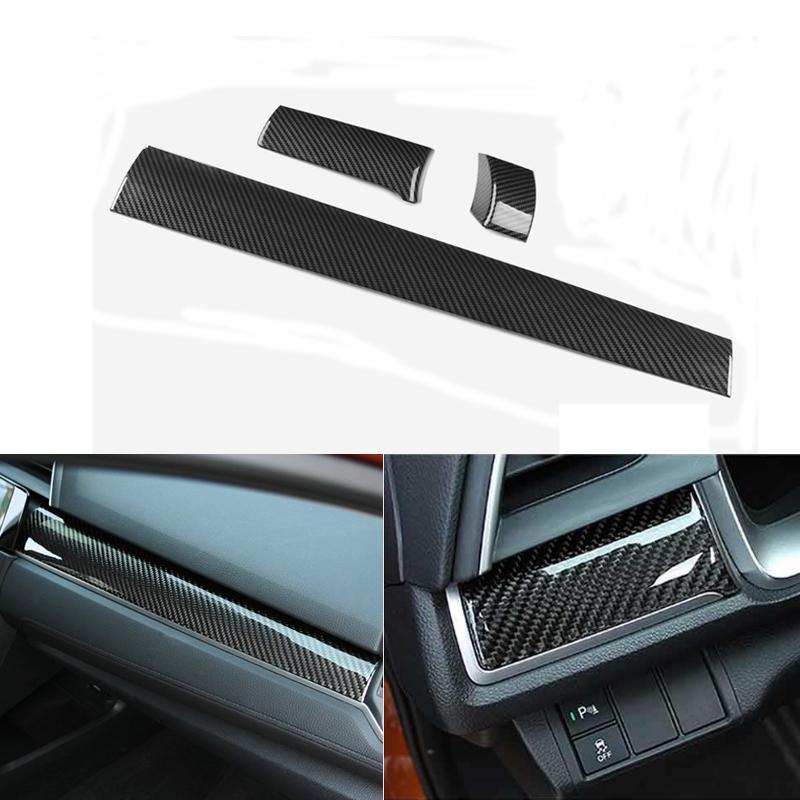 Carbon Fiber Center Dashboard Cover Trim Sticker Decal for Honda Civic 16-17