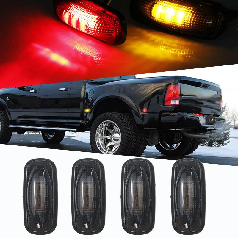 2x Red Kit Front Rear Partsam For 1999-2010 Ford F350 F450 F550 LED Side Fender Marker Light 2x Amber