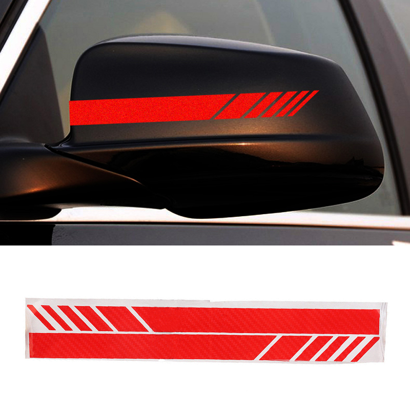 5D Carbon Fiber Car Rearview Mirror Sticker Racing Stripes Red Decal Accessories