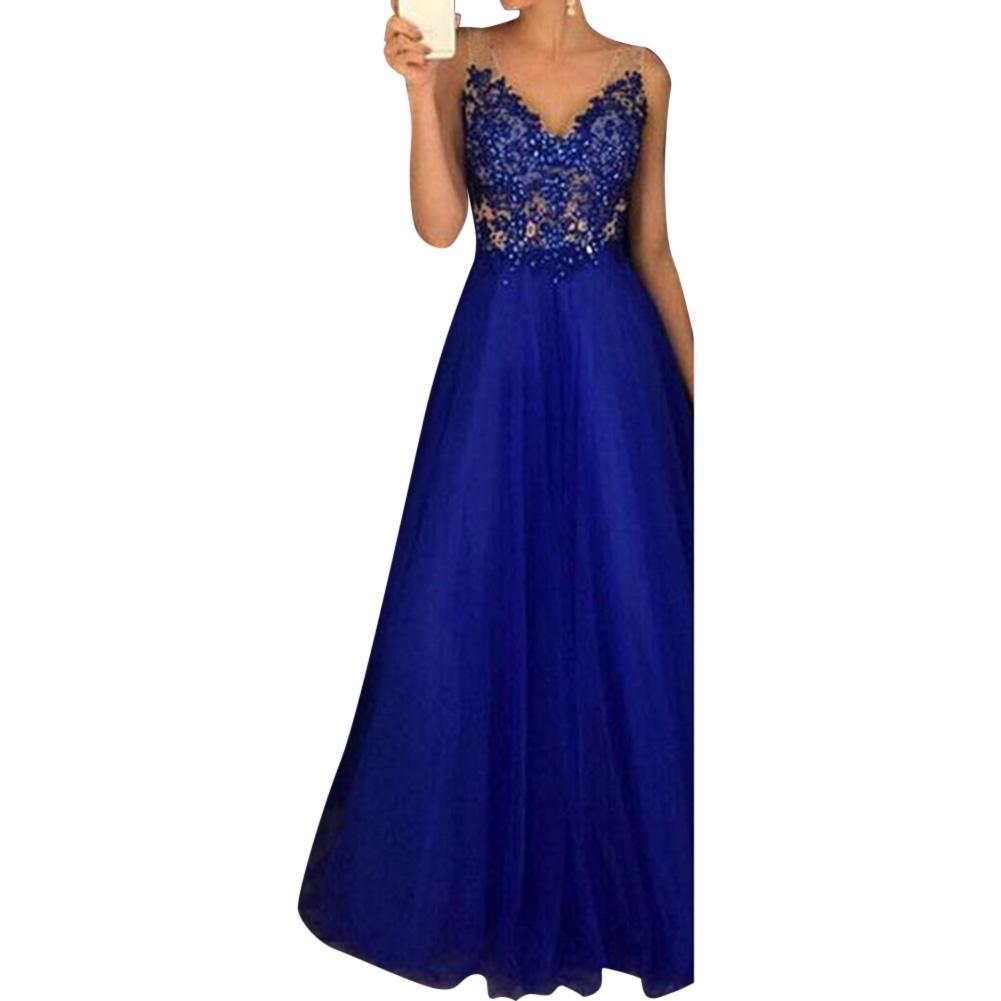 brautjungfer kleid blau weichen langen abend hochzeit