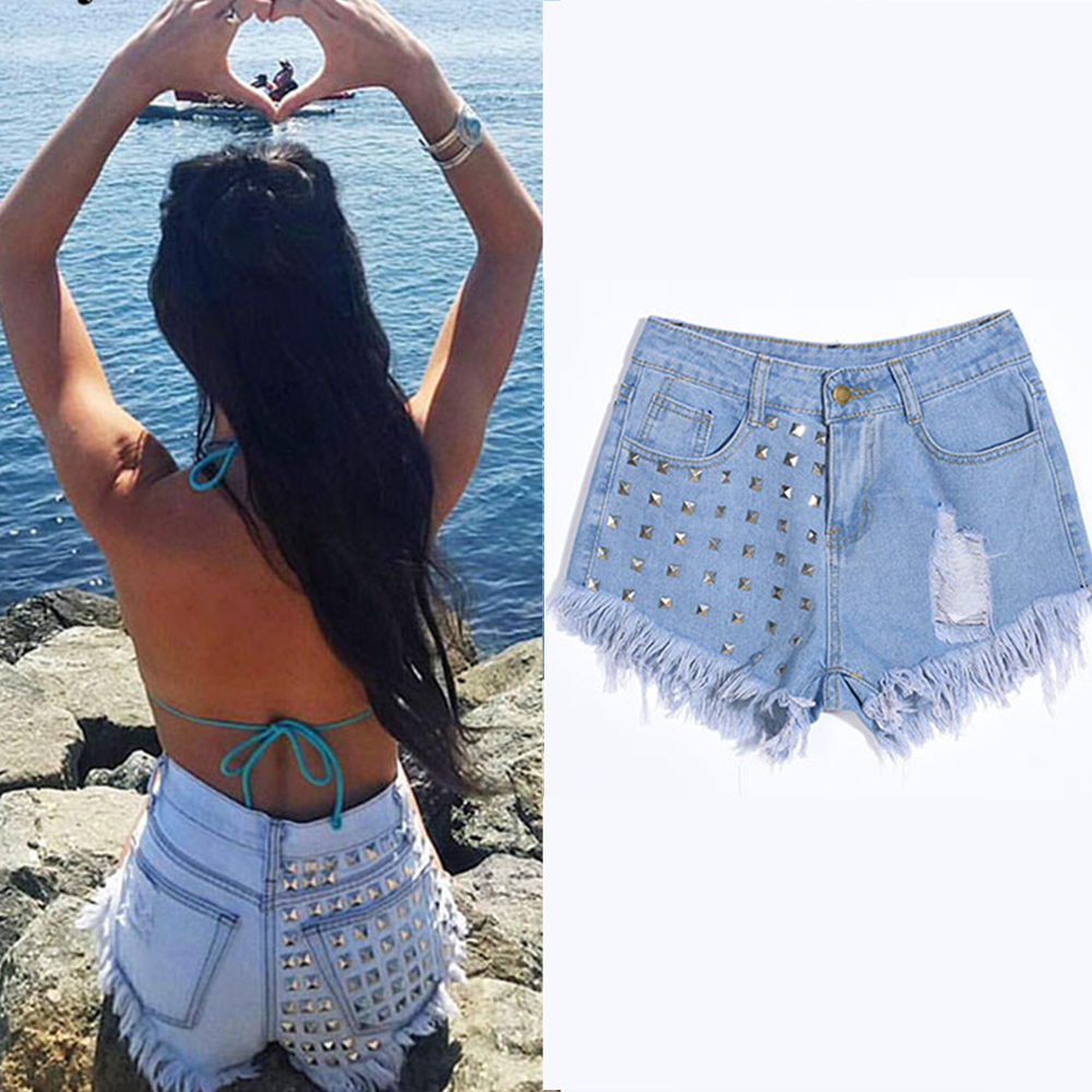 02e1ac78 Details about Women's Vintage Tassel Rivet Ripped Loose High Waisted Punk  Hot Denim ShortsTP