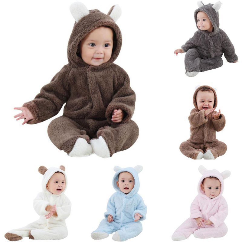 New-born Baby Infant Boys Girls Romper Hooded Jumpsuit Bodysuit Outfits Clothes