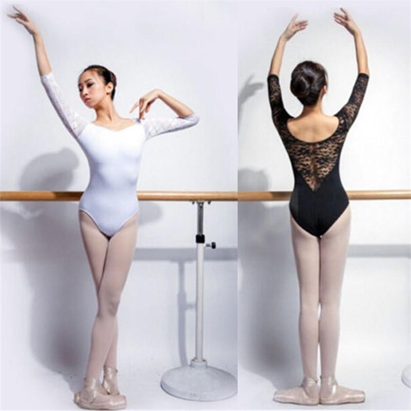 New Womens Black 3//4 Sleeve Floral Ballet Trainning Leotard Costume-C069 C070