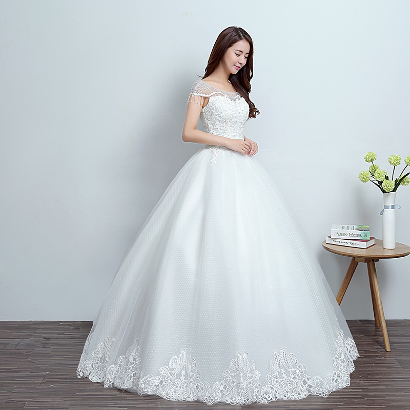 2018 Korean style round neck bride wedding dress Slim elegant ...