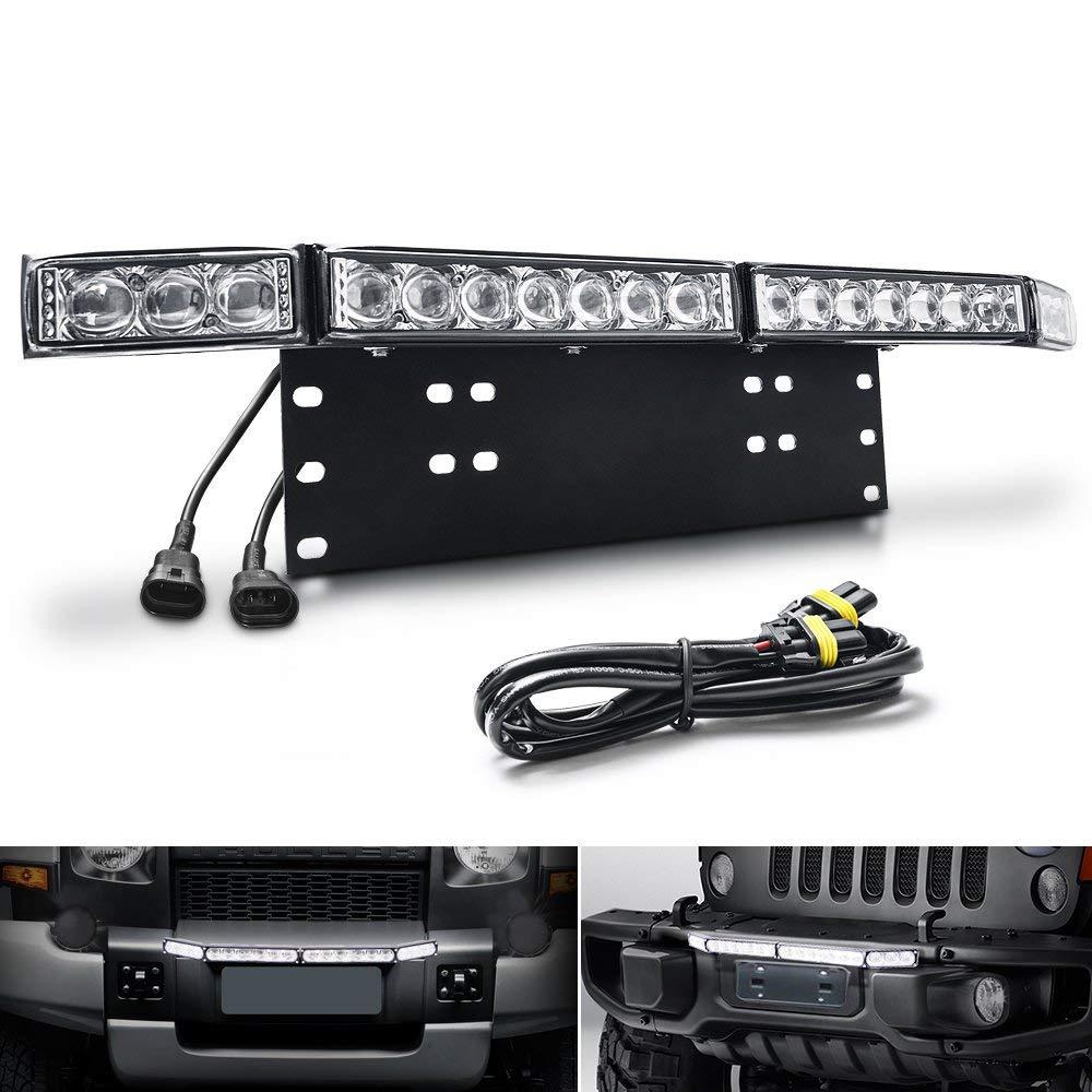 """Front Bumper Bull Bar License Plate Mount Holder Heavy Duty W// 4/"""" LED Light Pods"""