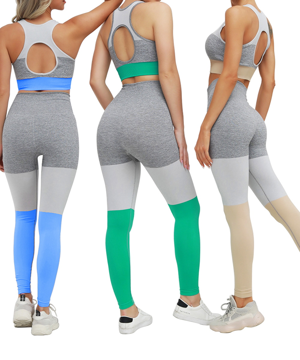 Women High Waist Yoga Leggings 3 Colors Stitching Seamless Hip Up Workout Pants