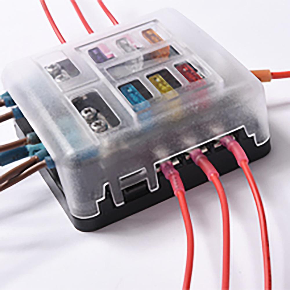 6 Circuit Led Illuminated Automotive Blade Fuse Holder Box Electrical Block W Negative