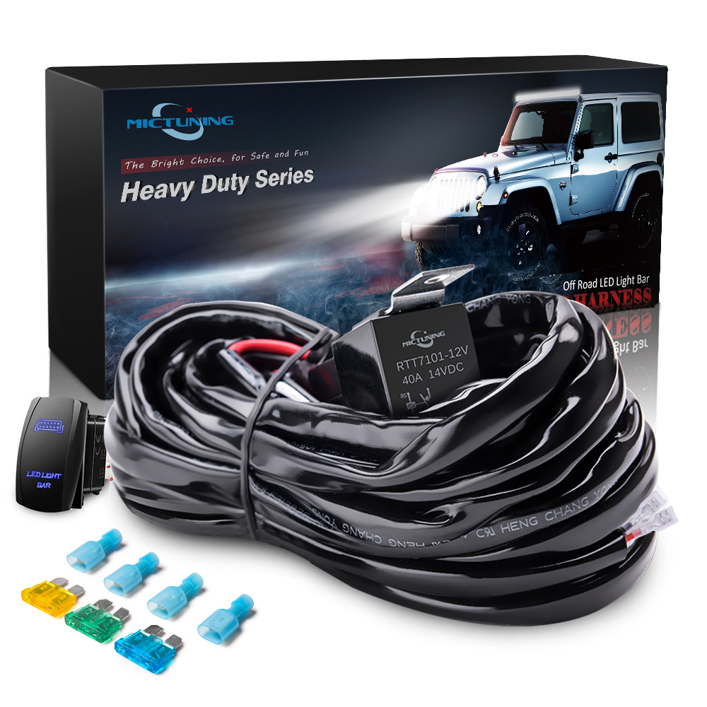 Details About Hd 300w 40a Relay Wiring Harness Kit Blue Led Light Bar Rocker Switch 14awg 1leg
