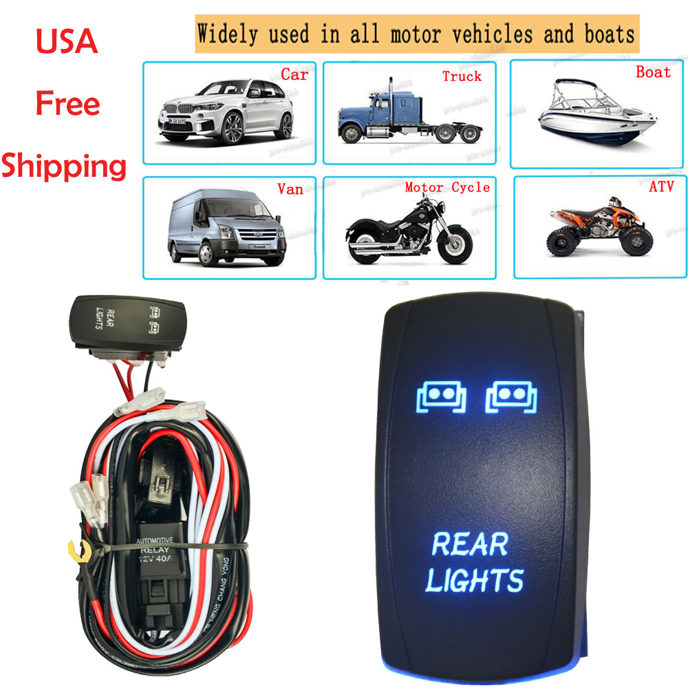 Details about Universal Blue LED 5Pin Car Rear Light Rocker Switch+ 40Amp  Relay Wiring Harness