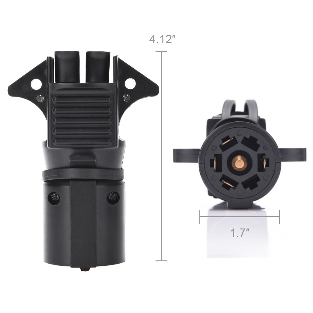 Round 7 Way Rv Blade To 4  U0026 5 Pin Flat Adapter Plug Cap