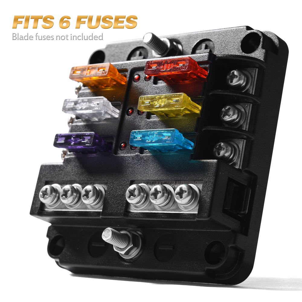 blade fuse box 6 circuit automotive atc blade fuse holder box led indicator block  atc blade fuse holder box led indicator