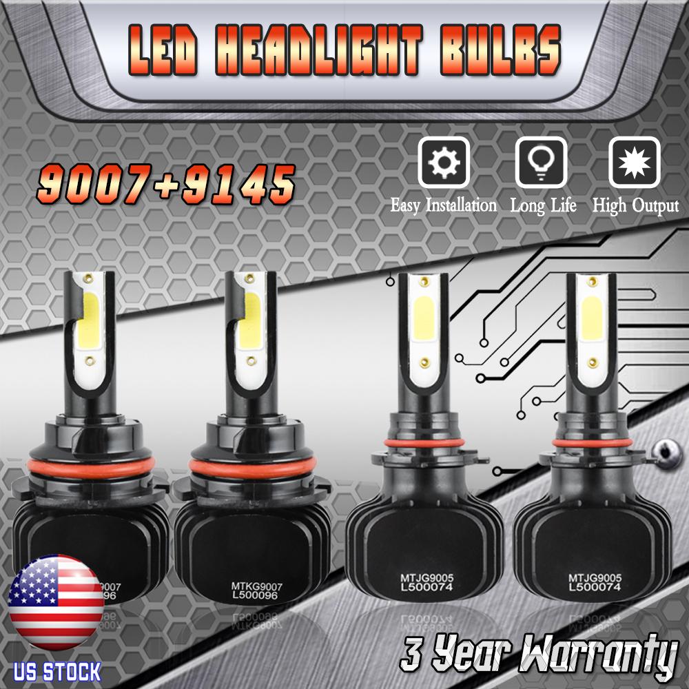 HB5 9007 LED Headlight + 9145 H10 Fog Light Combo Kit For
