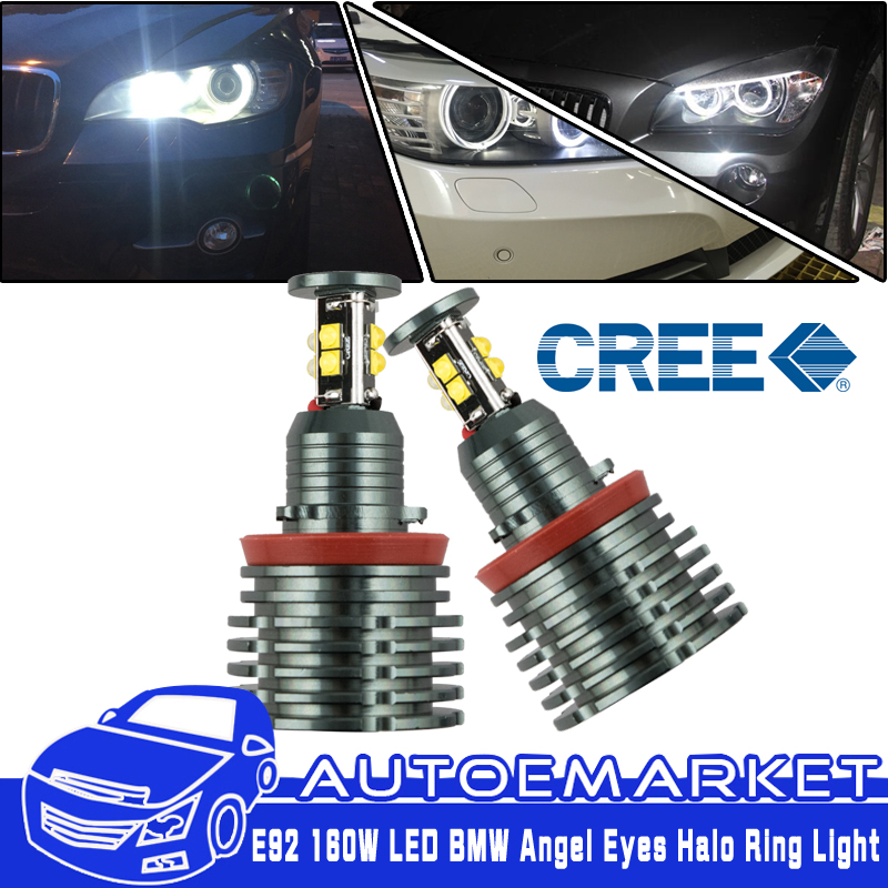 80W H8 LED Angel Eyes Halo Ring Light For 08-12 BMW 3-series E92 M3 Wide Angle