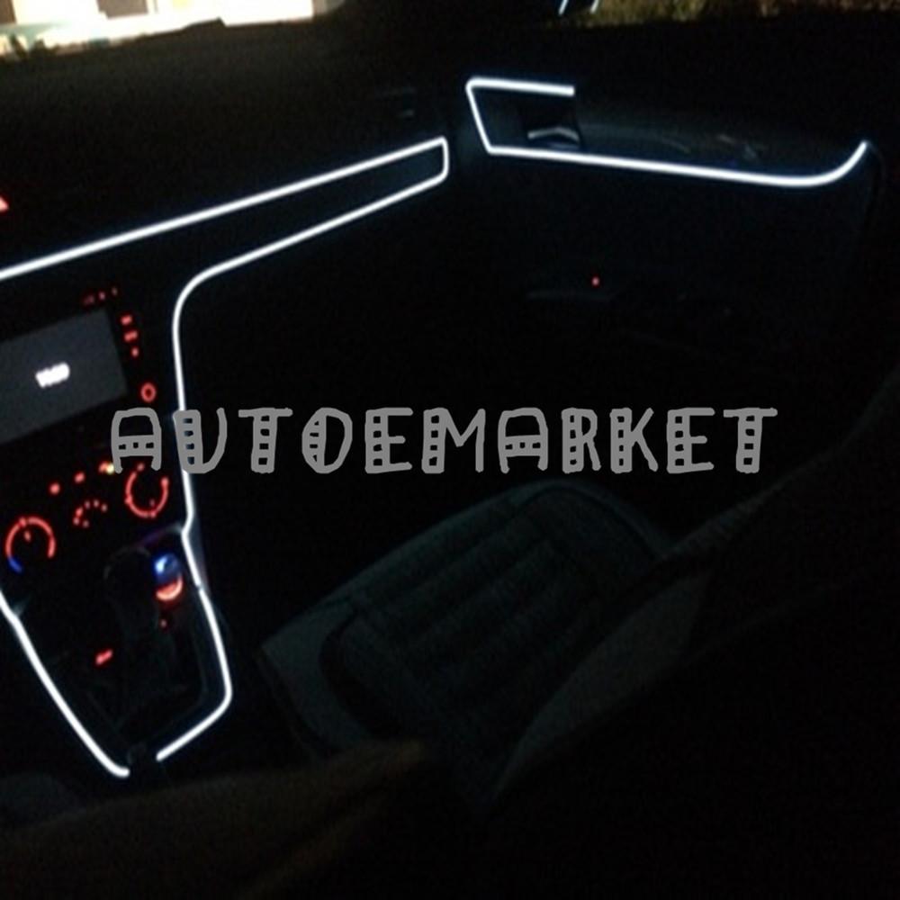 5M White EL Wire Car Interior 12V Decor Fluorescent Strip Neon ...