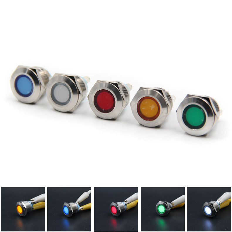 2x LED Metal indicator light 6mm Φ6 waterproof Signals Power supply work lights