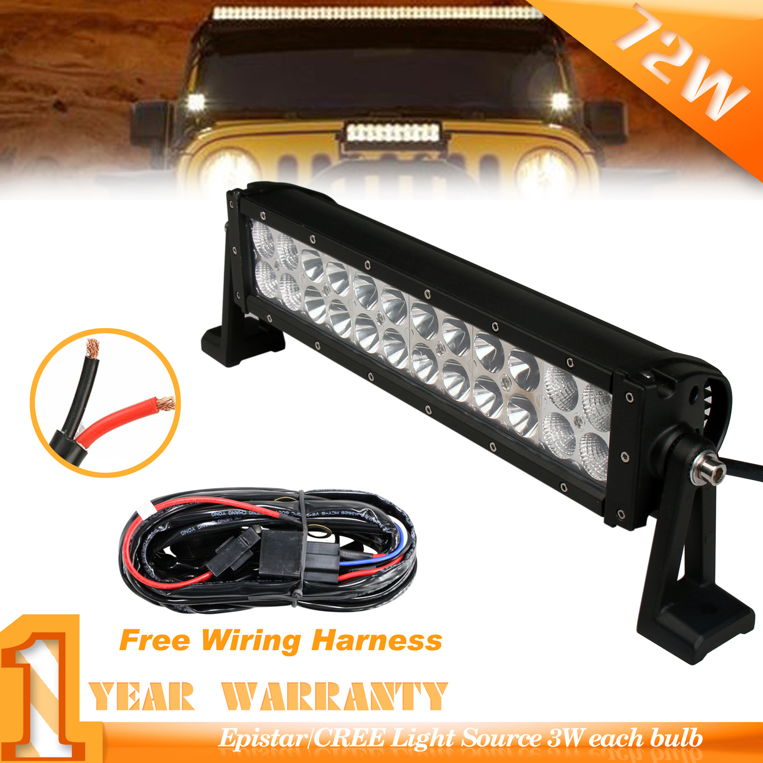 wiring jeep light harness bright high kit with itm led lighting cree combo bar offroad