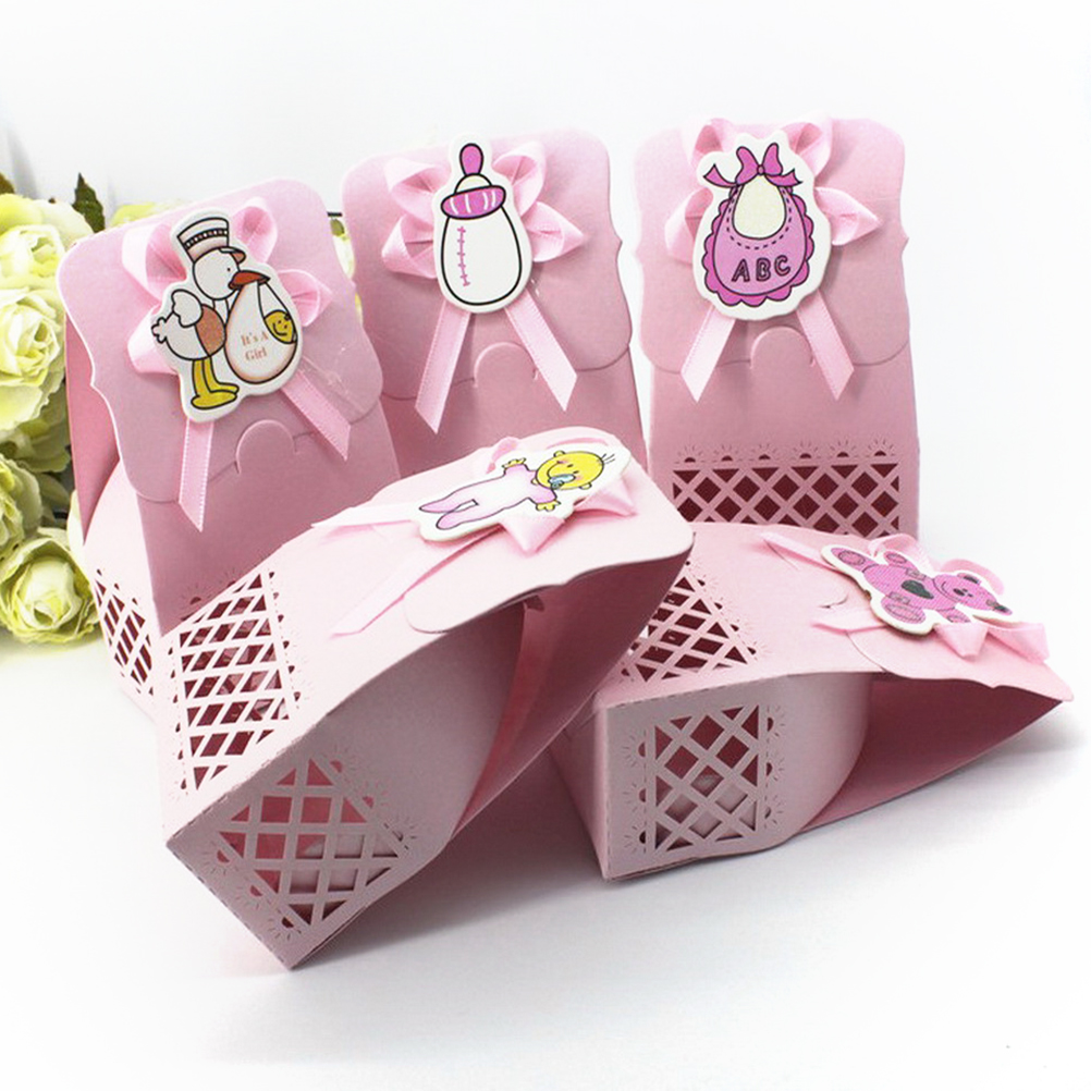 12pcs Baby Shower Lace Cut Sweet Cake Candy Boxes Wedding Party ...