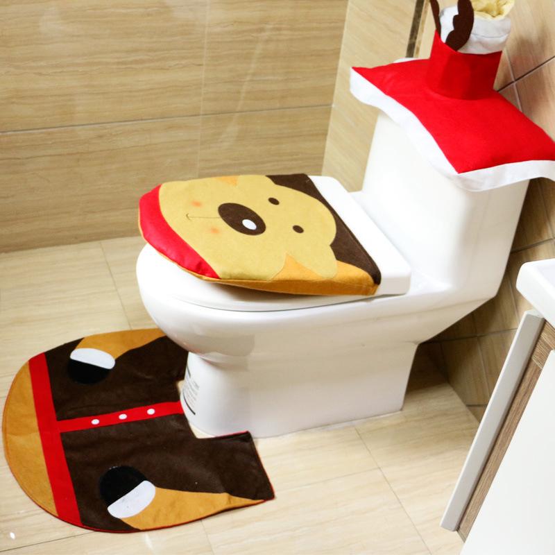 3 PCS Set Christmas Xmas Decoration Santa Toilet Seat Cover