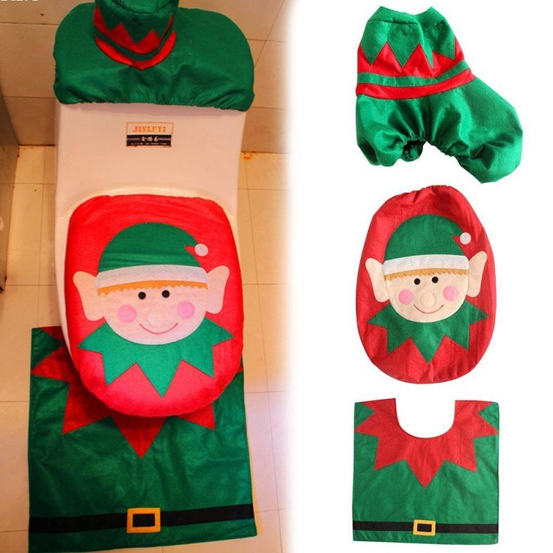 Christmas Xmas Decoration Toilet Seat Cover Set Santa