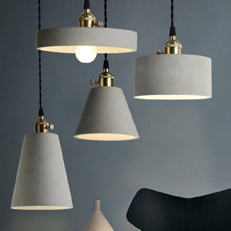 Vintage Loft Brass Grey Concrete Cement Shade 1 Lamp DIY ...