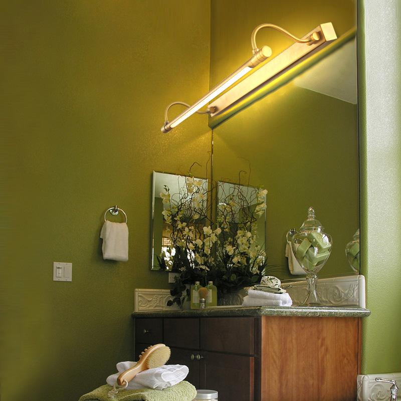 Modern Brass Long Bar LED Bathroom Vanity Mirror Wall Lights with ...