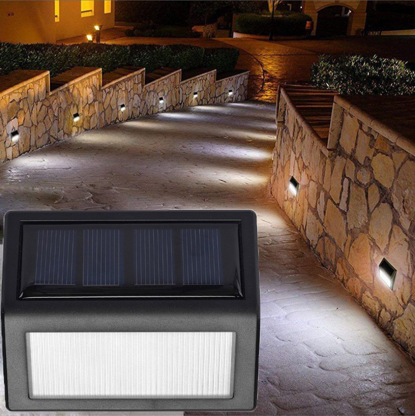 4pcs 6 Led Solar Power Stair Step Lamp Light Sensor Wall Light