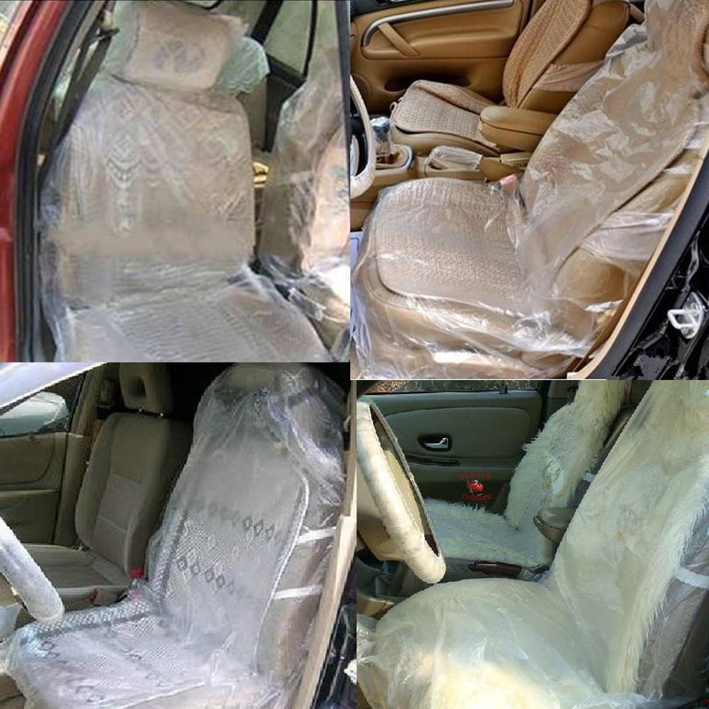 Brilliant Pack Of 50 Car Disposable Clear Plastic Seat Covers Vehicle Inzonedesignstudio Interior Chair Design Inzonedesignstudiocom