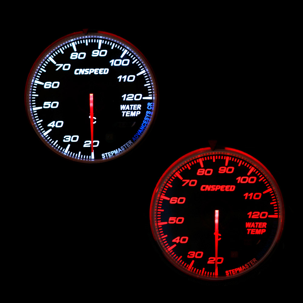 CNSPEED 60MM Car Water Temperature Gauge 20-120℃ with Red /& White Lighting