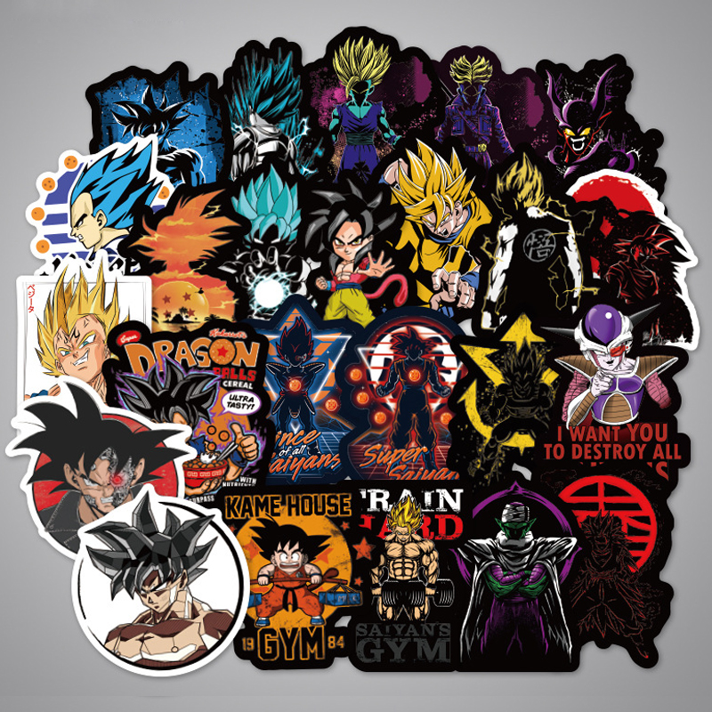 Anime Dragon Ball Z Super Saiyan Goku Sticker Decals For Skateboard Laptop 50Pcs