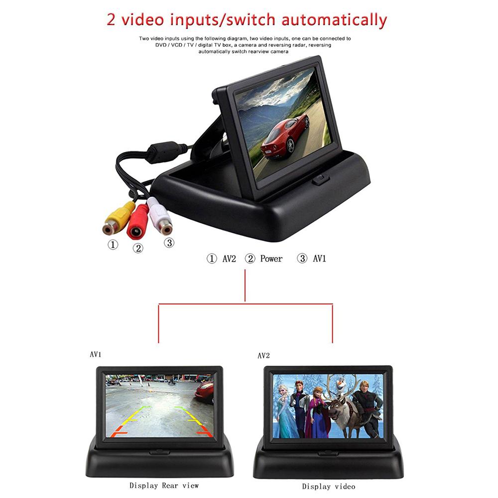 4 3 zoll lcd auto monitor f r r ckfahrkamera klappbar tft. Black Bedroom Furniture Sets. Home Design Ideas
