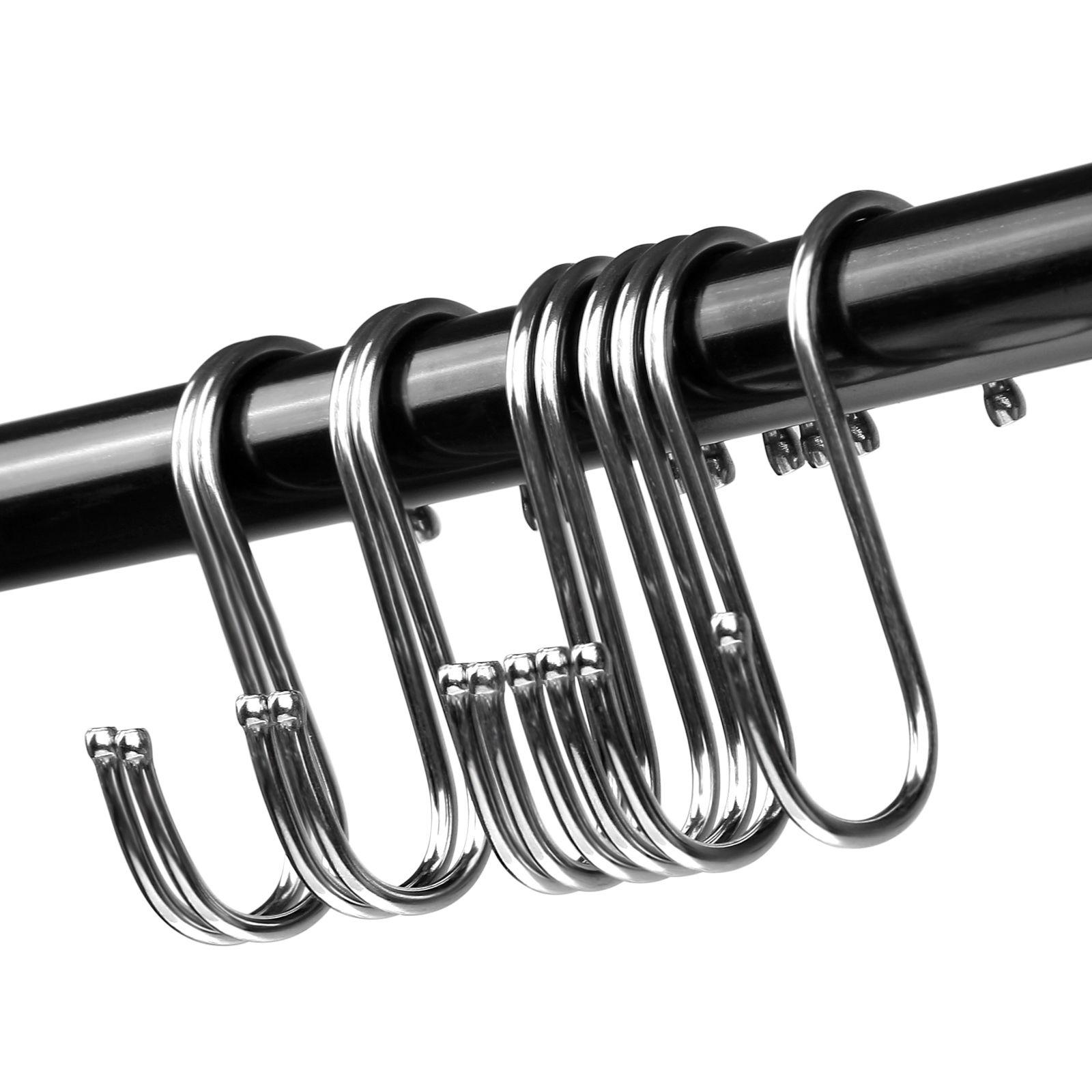 5x stainless s hooks kitchen pot pan hanger clothes storage rack hanging hooks ebay. Black Bedroom Furniture Sets. Home Design Ideas