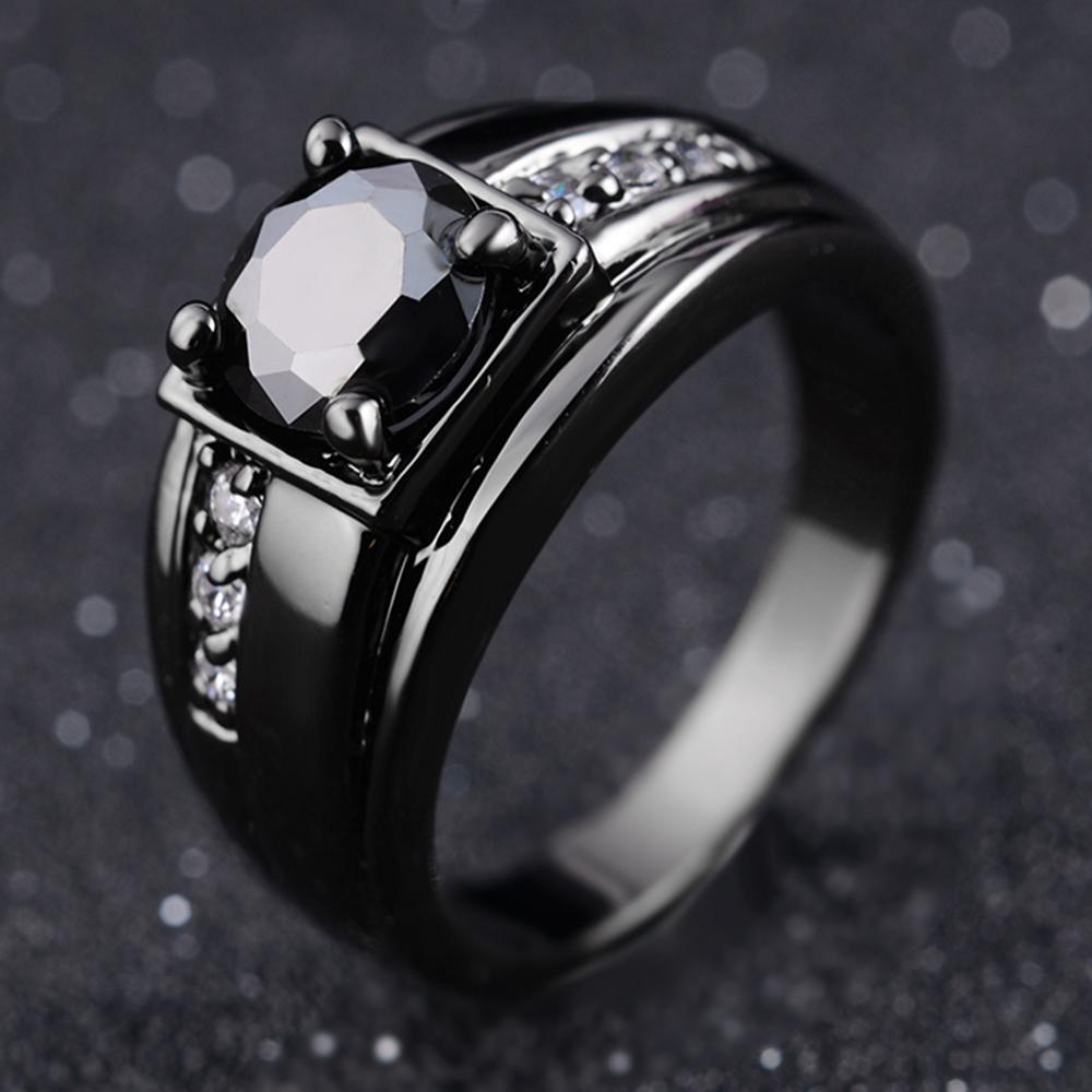 Fashion Man Blue Sapphire Yellow Gold Filled Wedding Ring Size 6,7,8,9,10,11