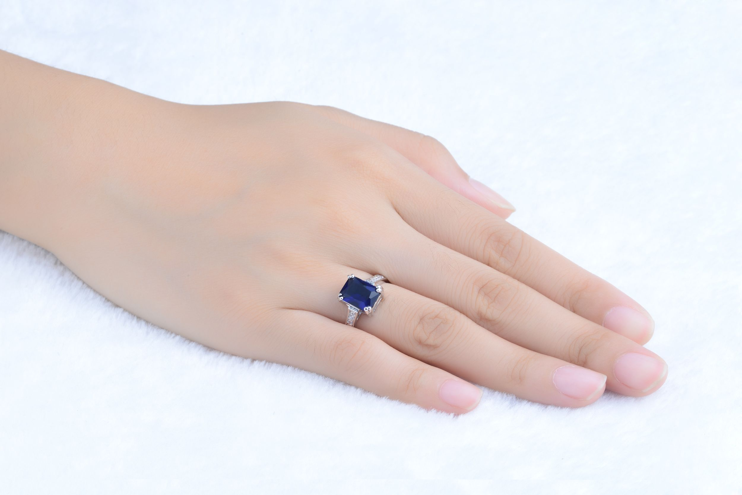Womens Jewelry Blue Sapphire Bridal 18K Gold Filled Engagement Ring ...