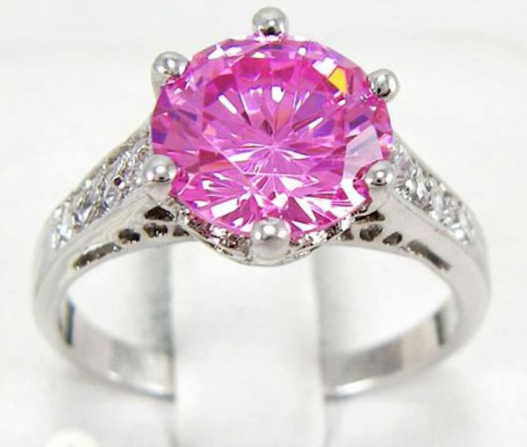 New Engagement Womens Round Pink Sapphire Gold Filled Wedding Ring ...