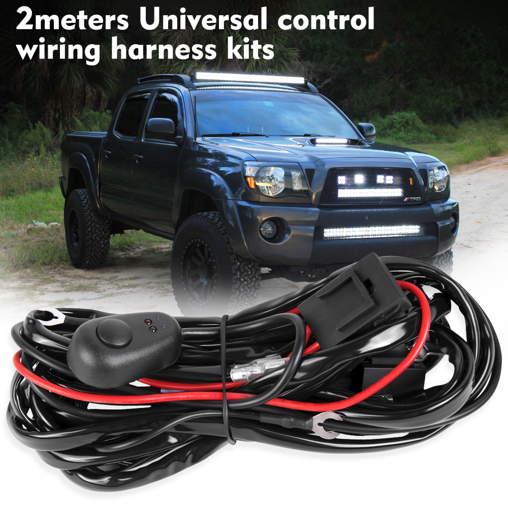 Led light bar wiring harness connector switch relay fuse 12v40a universal wiring loom harness kits connectors fuse relay waterproof switch plug 1 to 2 leads 24v 40a car truck led light bar fog aloadofball Images