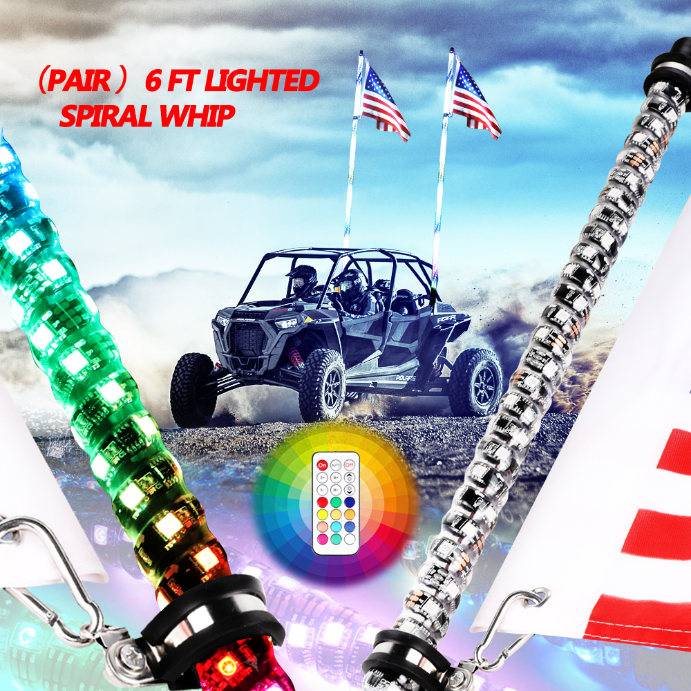 2PCS 6ft Lighted Spiral LED Whip Antenna w//Flag /& Remote for ATV Polaris RZR UTV