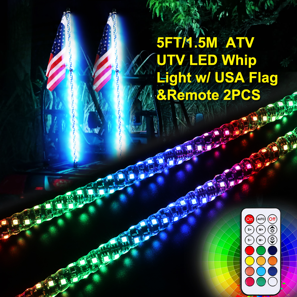 6 color available Led light bulb whip with American flag Quick Release R//W//B, 5 Feet