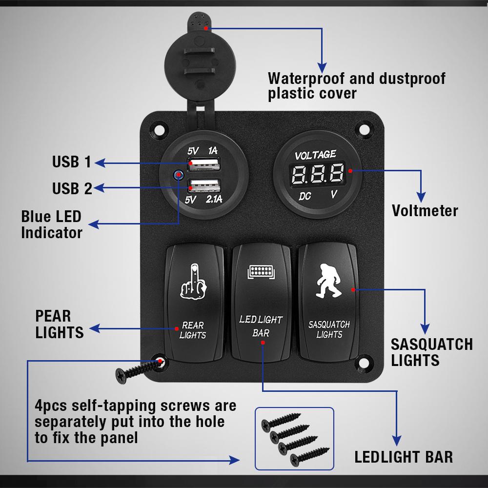 12v 3gang Rocker Toggle Switch Car Marine Remote Led Breaker Light Circuit Diagram Waterproof On Off Panel Boat 40ausb Charger Voltmeter