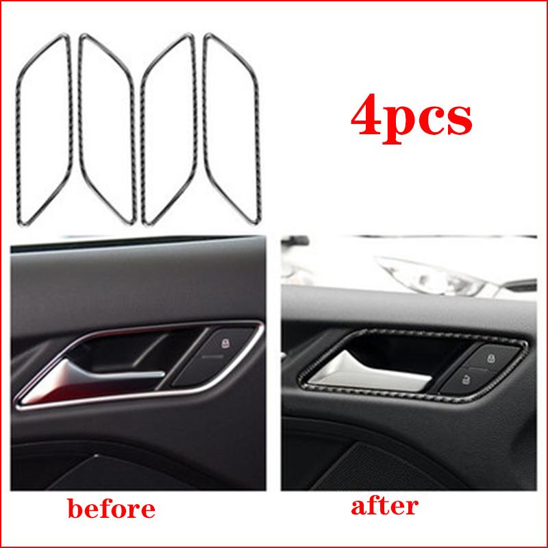For Audi A3 S3 8V 2013-2017 Carbon Fiber Interior Door Handle Bowl Trim Cover