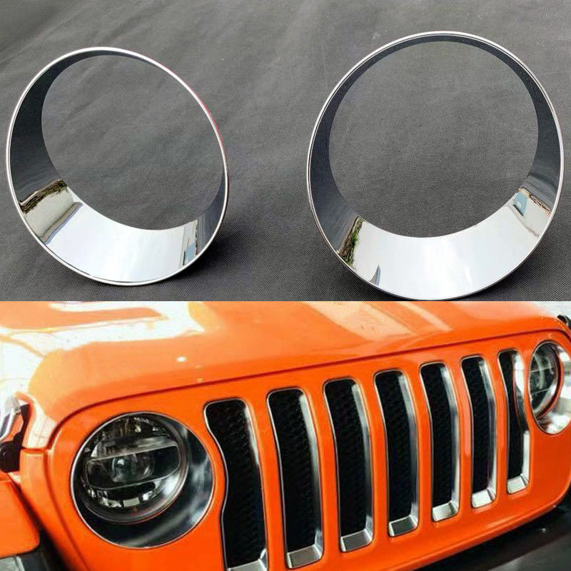 Front Bumper Fog Light Lamp Cover Trim ABS Chrome For Jeep Wrangler JL 2018 2019